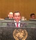 El canciller dominicano Andrés Navarro, ante la asamblea general de la ONU.