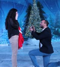 El novio que arrodillado pide matrimonio a su pareja en Brillante Navidad.