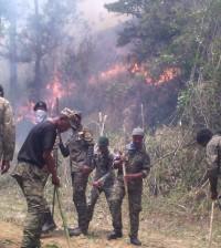 Brigadistas del Ejército trabajan intensamente en las labores para sofocar los incendios forestales en RD.